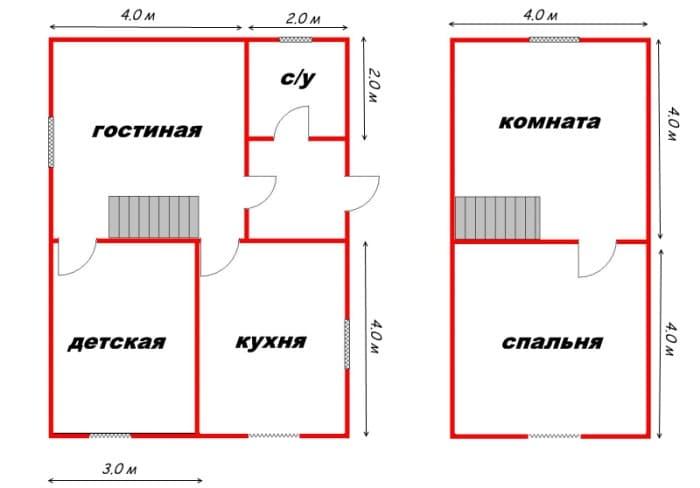 Планировка дома 6х8 из бруса
