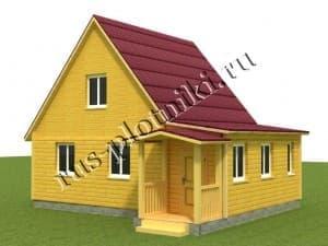 Дом из бруса с мансардой 6х8,5, проект Д-22