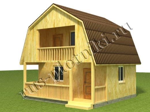 Дом каркасный с балконом