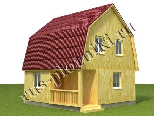 каркасно-щитовой дом 6х6