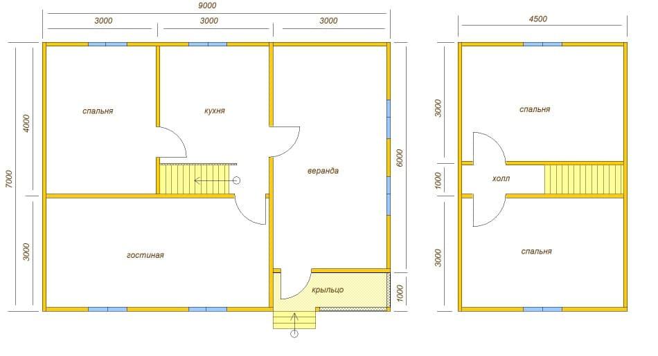планировка дома с крыльцом