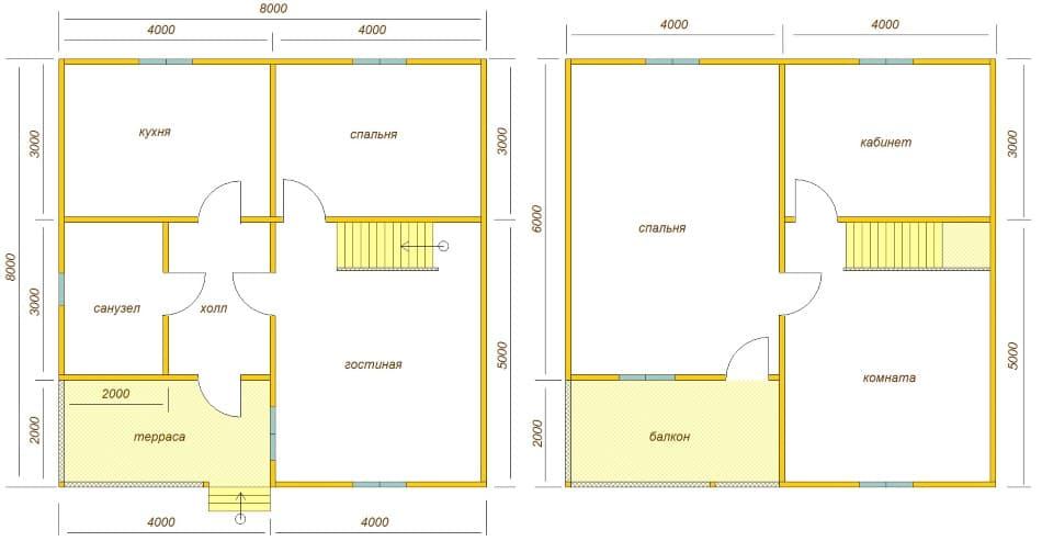 планировка дома 8х8