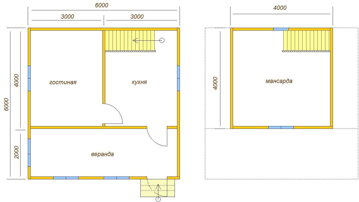 планировка дома с верандой