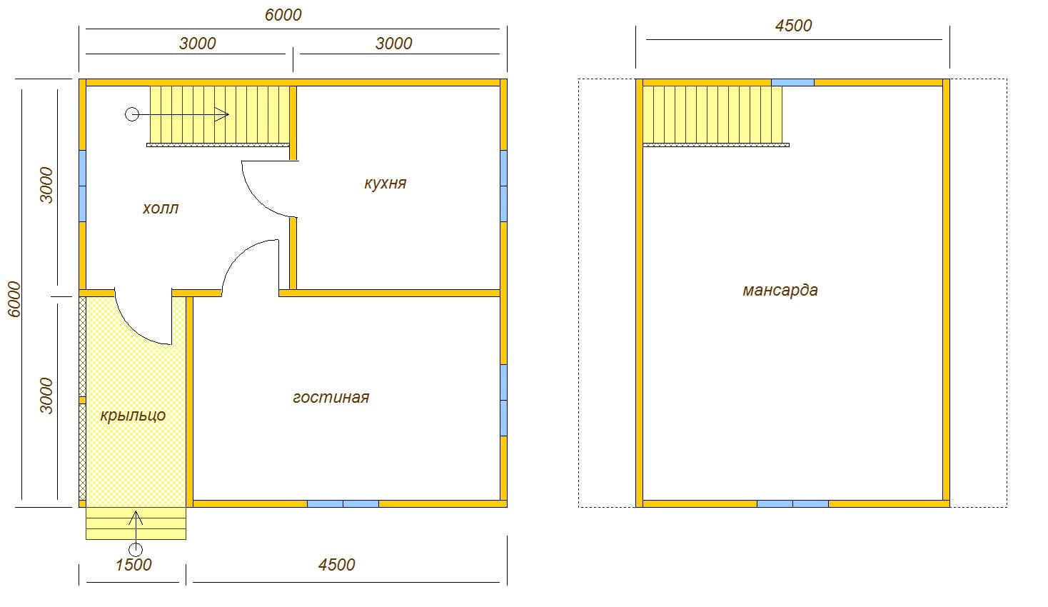 планировка дома 6х6 из бруса