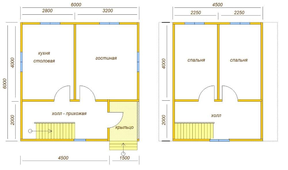план каркасного дома 6х6