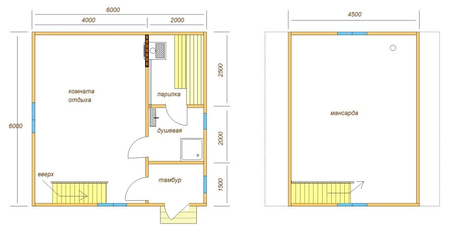 plan bani b17 Двухэтажная баня 6х6