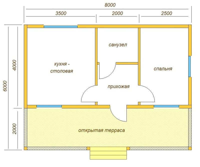 План одноэтажный дом 6х8