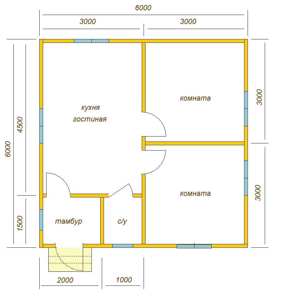 Планировка дома 6 на 6 одноэтажный фото
