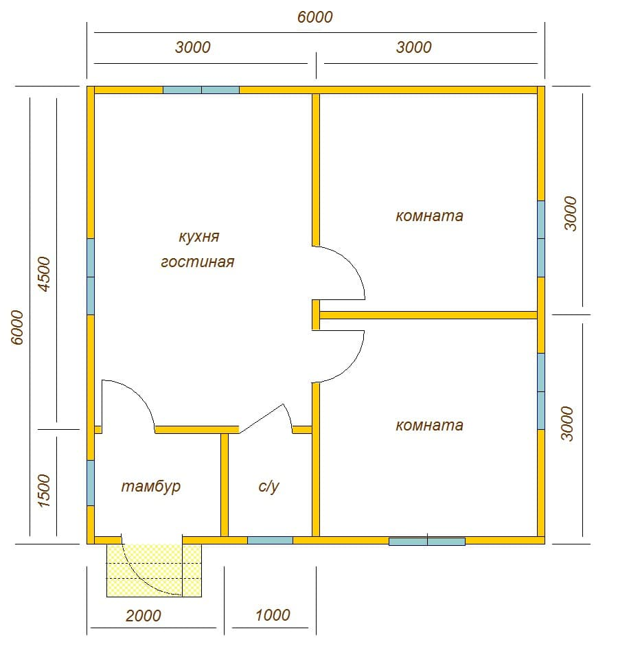 план дома одноэтажного 6 на 6