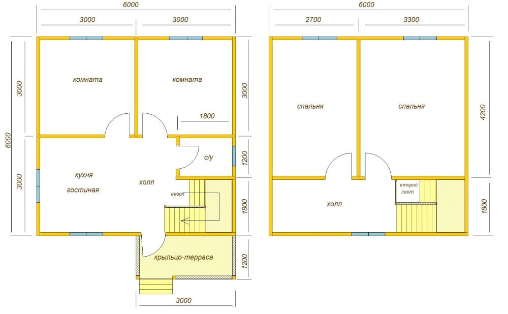 планировка дома 6х6 в полтора этажа