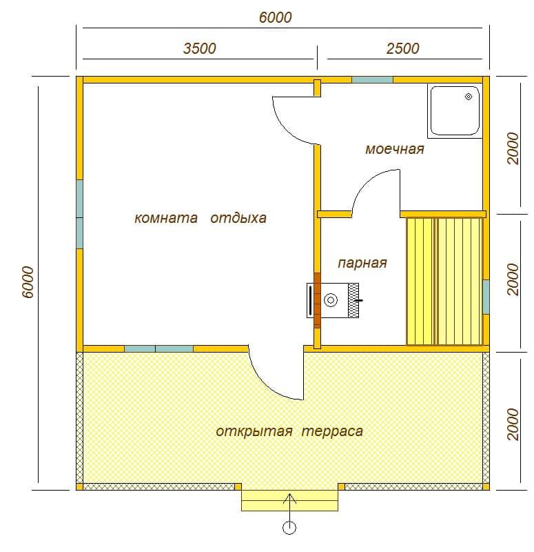 планировка бани 6х6 с террасой