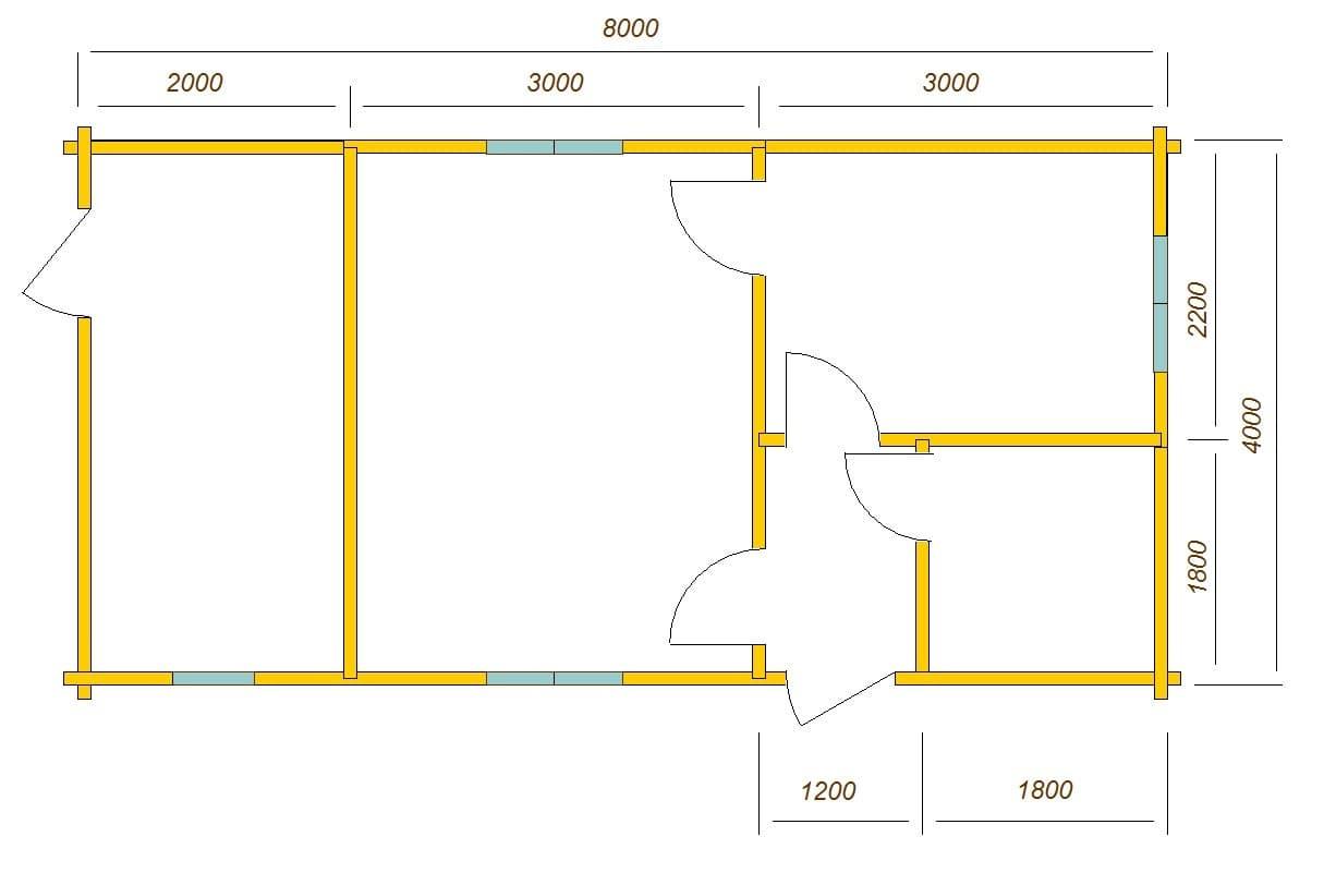 план дома 8х4 с хозяйственным помещением