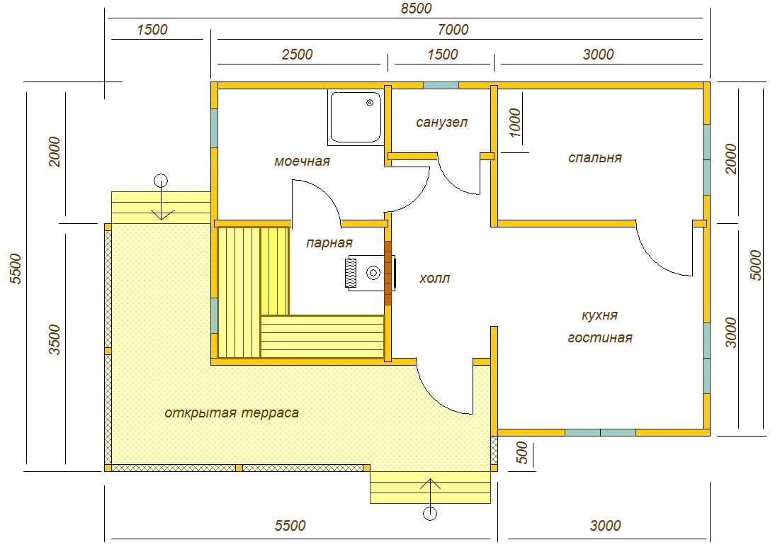 Баня 5х8 из бруса (проект Б-27)