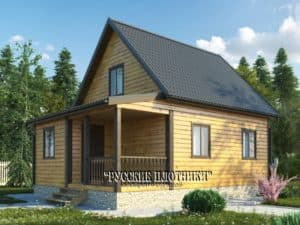Дом из бруса с мансардой 6х8, проект Д-14
