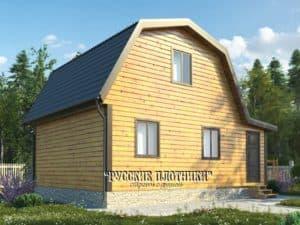 Дом из бруса с мансардой 7х8, проект Д-15