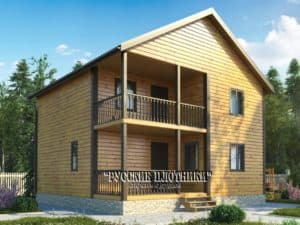 Двухэтажный дом из бруса 8х8, проект Д-20