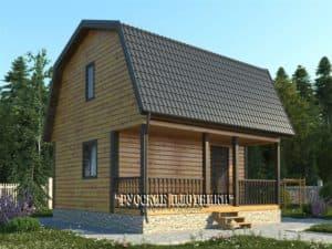 Дом из бруса с мансардой 5х6, проект Д-24