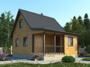 Дом из бруса с мансардой 6х8, проект Д-26
