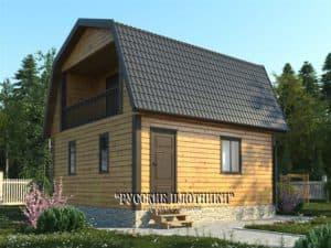 Дом из бруса с мансардой 6х6, проект Д-30