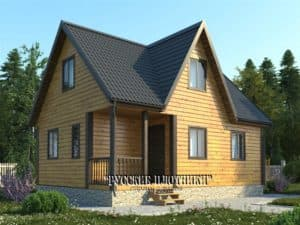 Дом из бруса с мансардой 6х8, проект Д-37