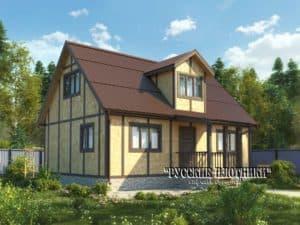 Каркасный дом с мансардой 6х9, проект К-29