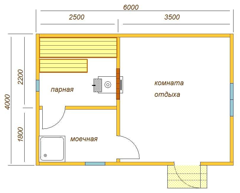 планировка бани 6х4