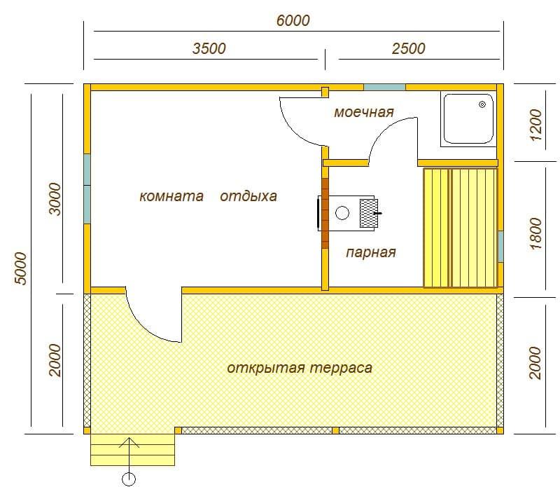 планировка бани 6х5