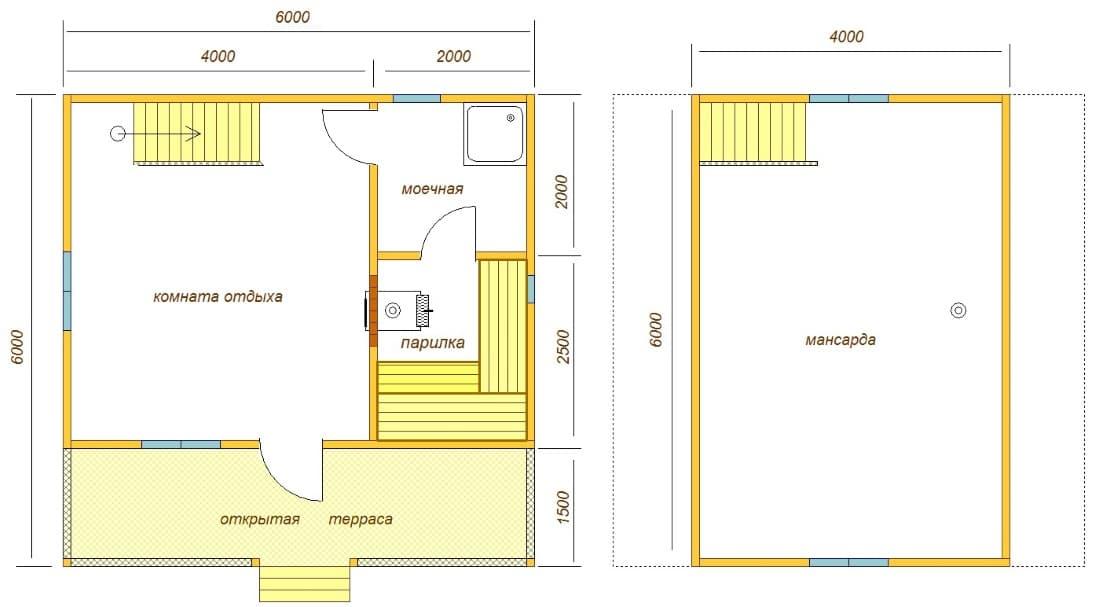 Планировка бани 6х6 с мансардой