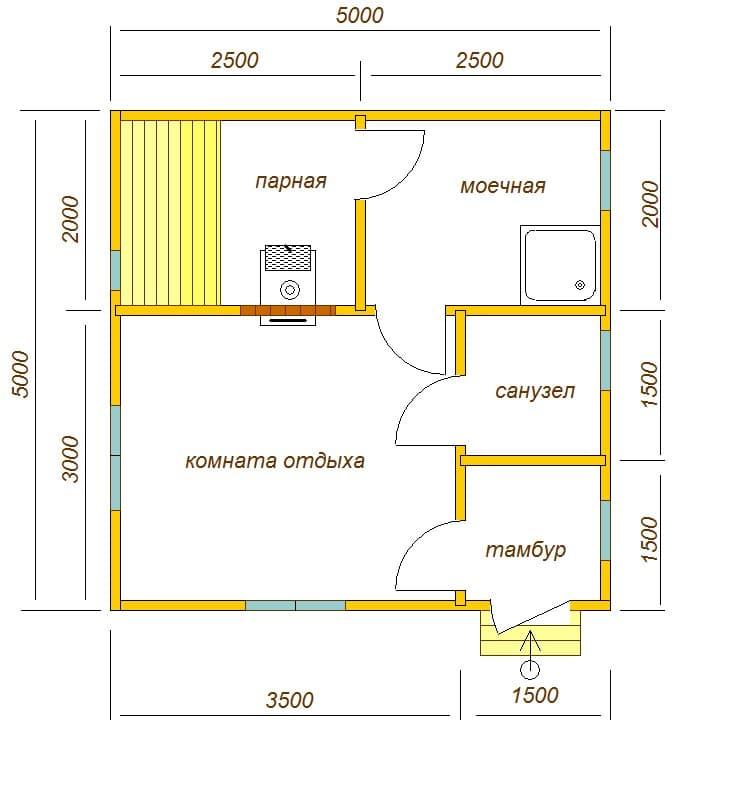 план бани 5х5