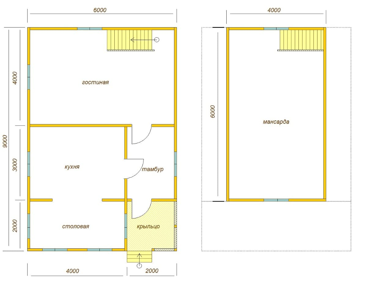 планировка дома 6х9