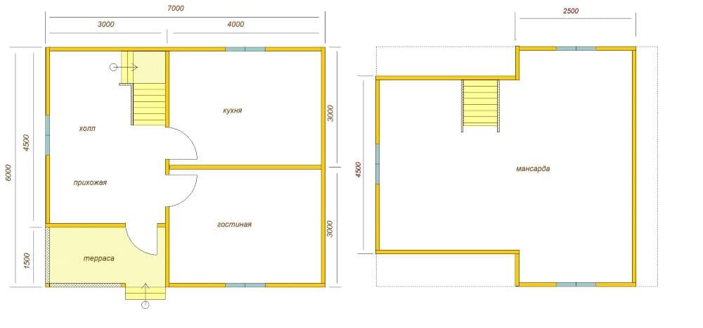 планировка дома 6х7