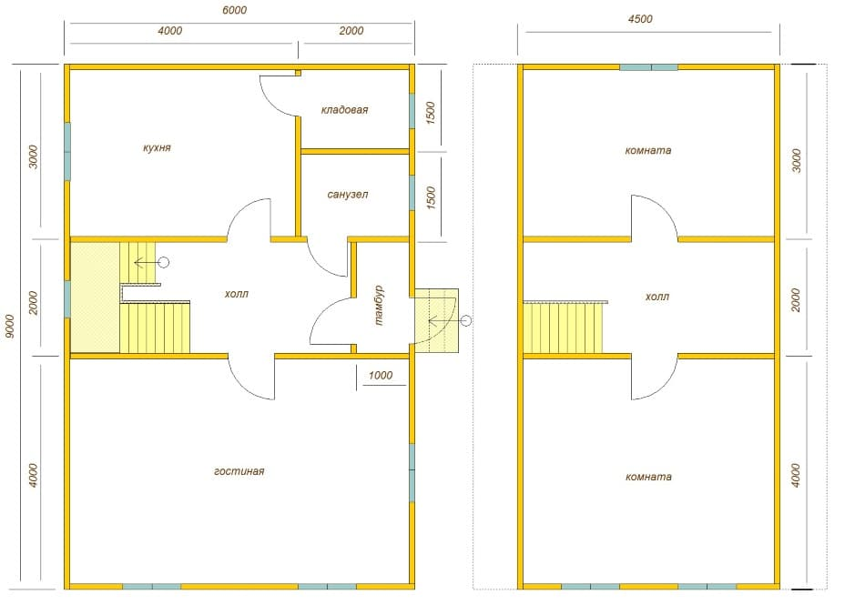 планировка дома 9х6