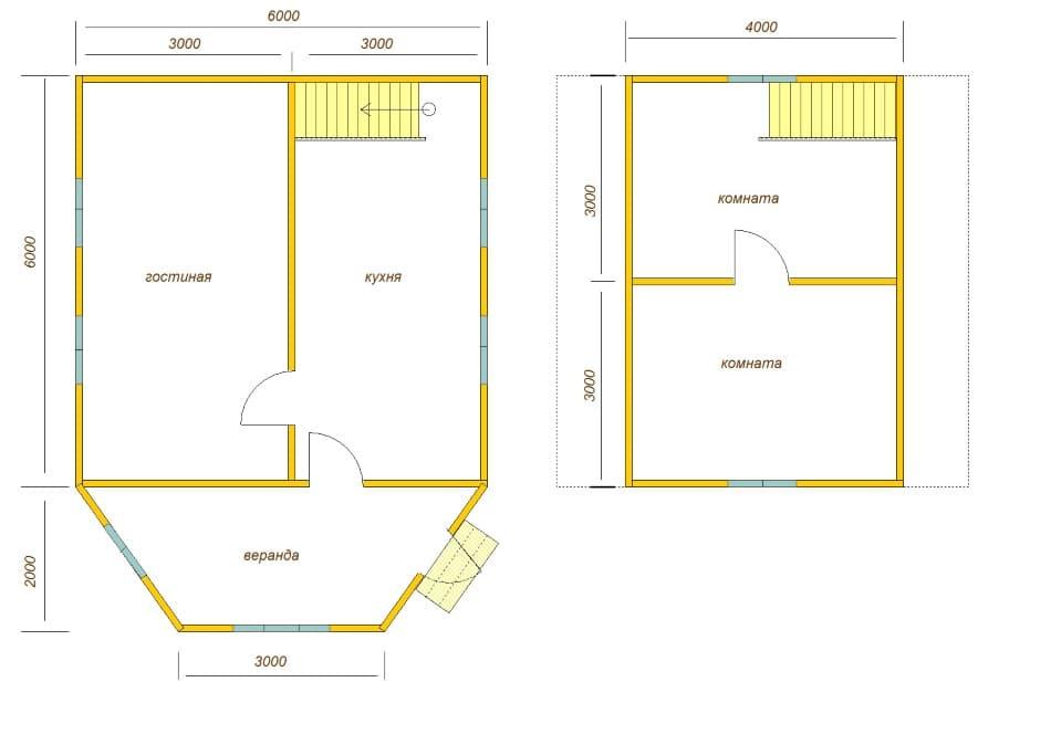 планировка дома 6х8 с верандой