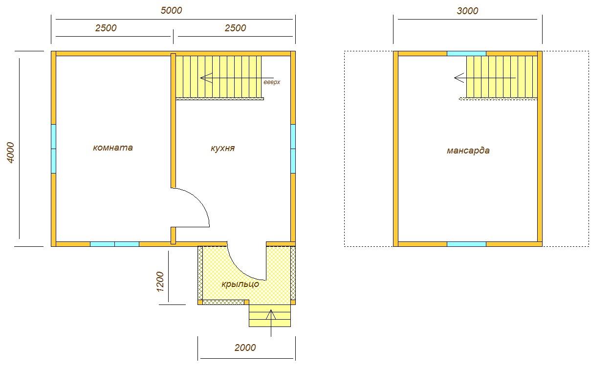 планировка дома 5х4